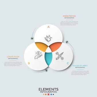 Schema di intersezione. tre elementi circolari di carta bianca intersecati con pittogrammi di linee sottili all'interno e caselle di testo. modello di progettazione infografica pulito. per la presentazione aziendale.