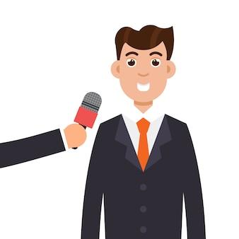 Intervista o conferenza stampa di un uomo d'affari. Vettore Premium