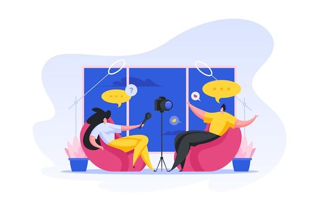 Ripresa di interviste per blog video. illustrazione di persone dei cartoni animati