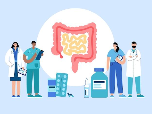 Logo dell'intestino per clinica gastrointestinale. anatomia dell'intestino, dell'appendice, del retto e del colon.