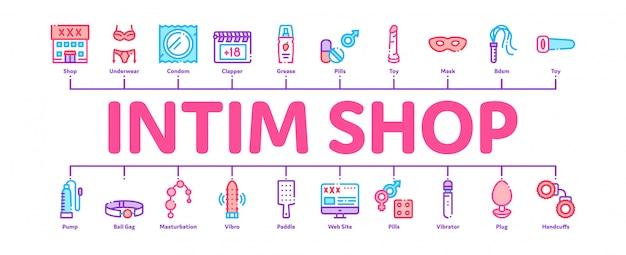 Insegna minima di infographic dei giocattoli del sesso del negozio intimo