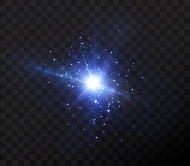 Presentazione degli effetti delle luci al neon che emettono luce blu