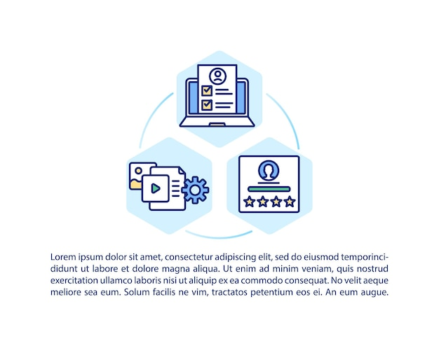 Icona del concetto di struttura del corso intuitivo con testo. formazione in linea. insegnanti e tutor professionisti. modello di pagina ppt.