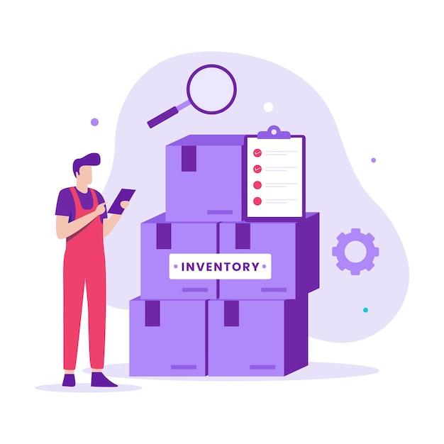 Concetto di illustrazione del controllo dell'inventario. illustrazione per siti web, landing page, applicazioni mobili, poster e banner
