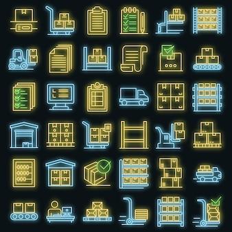 Set di icone di inventario. contorno set di icone vettoriali inventario colore neon su nero