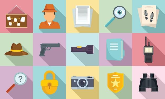 Set di icone di investigatore. set piatto di icone di investigatore per il web design
