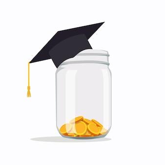 Investire in idee educative tasse scolastiche, spese scolastiche, tasse scolastiche, cappello di laurea con monete in un barattolo illustrazione vettoriale in stile piatto