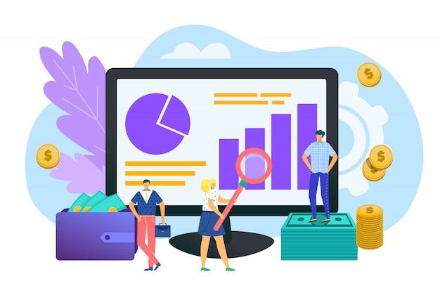 Analisi degli investimenti, concetto di finanze nell'illustrazione. sviluppo, crescita finanziaria ricerca dati, statistiche grafiche, analisi dati, documenti aziendali, relazioni strategiche, annuali. Vettore Premium
