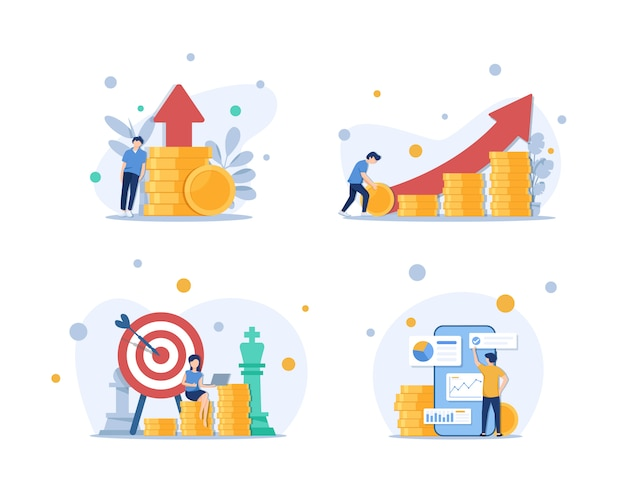 Investimenti e analisi denaro contanti profitti metafora, dipendente o manager che fanno piani di investimento