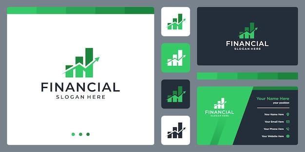 Progettazione e analisi del logo del grafico degli investimenti. disegno del modello di biglietto da visita.