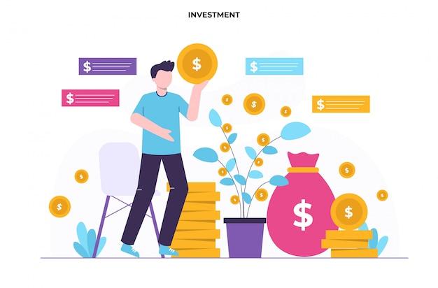 Illustrazione piatta concetto di investimento