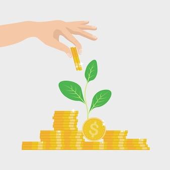 Concetto di crescita degli investimenti e delle finanze. imprenditore di successo mettere moneta sulla pila di denaro contante
