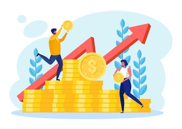 Concetto di crescita degli investimenti e delle finanze. imprenditore di successo in piedi su una pila di monete, soldi
