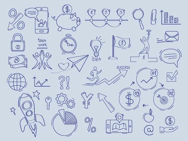 I soldi di finanza di investimento nei simboli della banca della raccolta di scarabocchi di vettore dei documenti dell'ufficio di comerce.