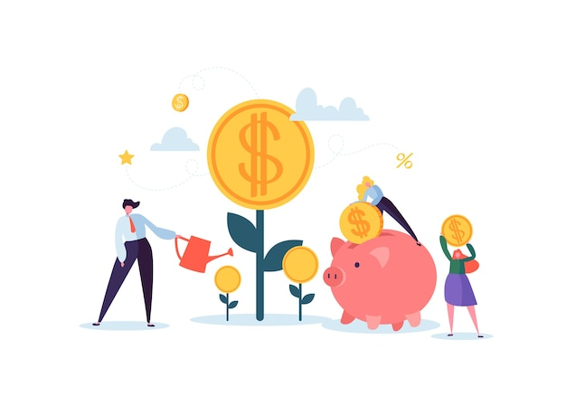 Concetto finanziario di investimento. uomini d'affari che aumentano capitali e profitti. ricchezza e risparmio con i personaggi. guadagni di denaro.