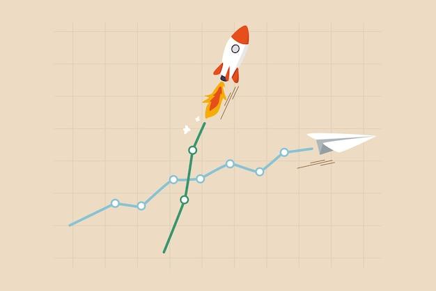 Razzo di crescita degli investimenti, azioni ad alto profitto o rendimento di criptovalute, società o monete vincitrici, concetto di trader veloce ricco, grafico di investimento e grafico con crescita del razzo del cielo rispetto al normale aereo.