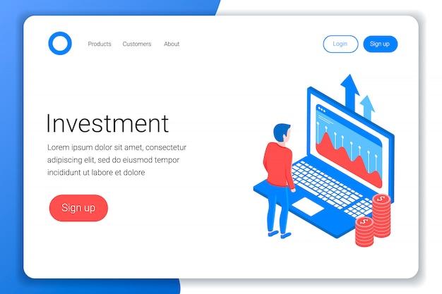Concetto isometrico di investimento. l'investitore analizza i dati sullo schermo del laptop. piatto 3d isometrico. modello di pagina di destinazione. illustrazione.