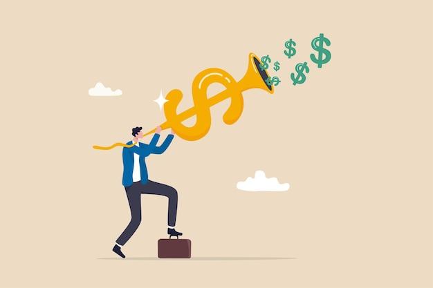 Opportunità di investimento, fare soldi, profitto o guadagno, politica del tasso di interesse del segnale della banca centrale della fed, concetto di segnale di acquisto e vendita del mercato azionario finanziario, investitore d'affari che soffia il corno del dollaro.