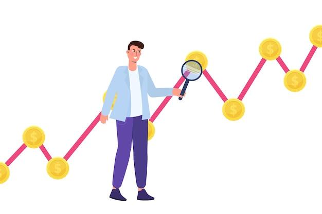 Concetto di ricerca di opportunità di investimento. illustrazione vettoriale.