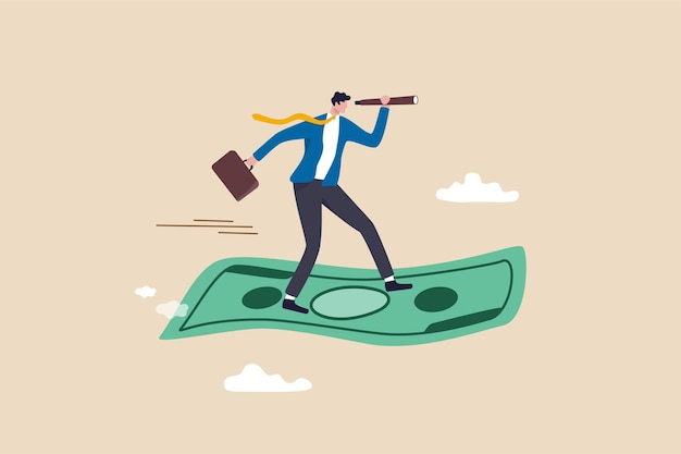 Opportunità di investimento, visionario per realizzare profitti o concetto di crescita finanziaria.