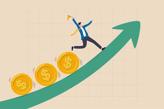 Il profitto e il guadagno degli investimenti, la crescita del mercato azionario o il flusso di fondi dipendono dal tasso di interesse e dal concetto di inflazione, investitore d'affari, gestore di fondi che tiene bandiera monete di piombo che corrono sul grafico in aumento.
