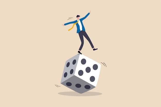 Rischio di investimento, commerciante di borsa, gioco d'azzardo, incertezza, possibilità di perdere denaro o realizzare un profitto dal concetto di investimento