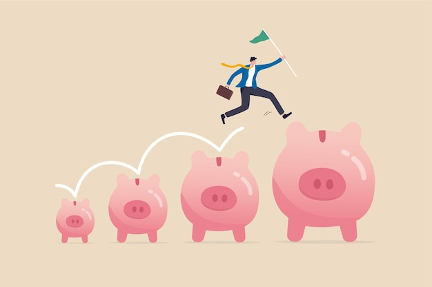 Crescita degli investimenti e dei risparmi, aumento dello stipendio o dei profitti, fare più soldi e raccogliere più concetto di ricchezza, uomo d'affari che salta dal piccolo salvadanaio a un profitto maggiore per raggiungere l'obiettivo finanziario.