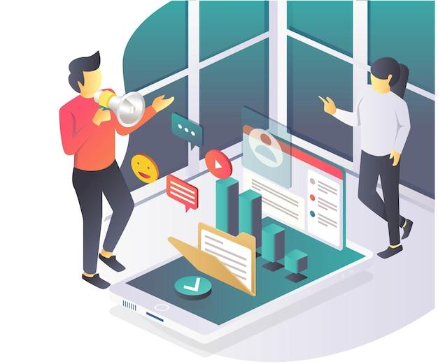 Campagna di investimento sui social media in illustrazione isometrica