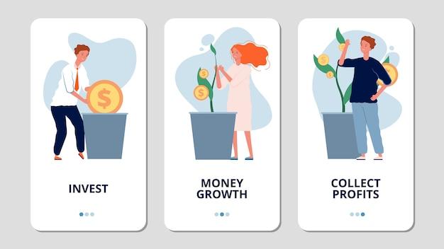 Investimenti. pagine di app per banche di investimento online. le persone coltivano soldi, raccolgono profitti. banner di crescita dei soldi. pagina di crescita degli investimenti e delle finanze dell'illustrazione per app mobile