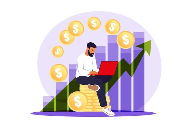 Uomo dell'investitore con laptop che controlla la crescita dei dividendi.