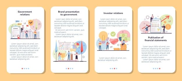 Set di banner per applicazioni mobili per investitori