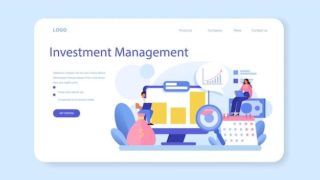 Banner web per le relazioni con gli investitori o coinvolgimento negli investimenti della pagina di destinazione