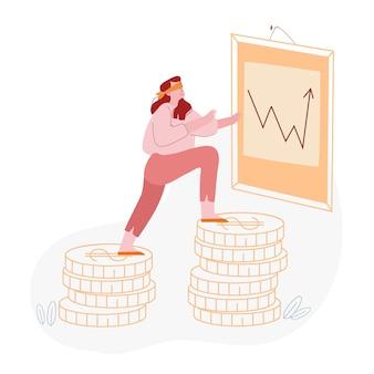 Investitore che rischia con i soldi sul mercato azionario