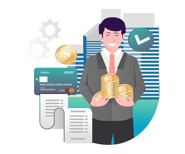 Gli investitori portano soldi per risparmiare nell'illustrazione isometrica