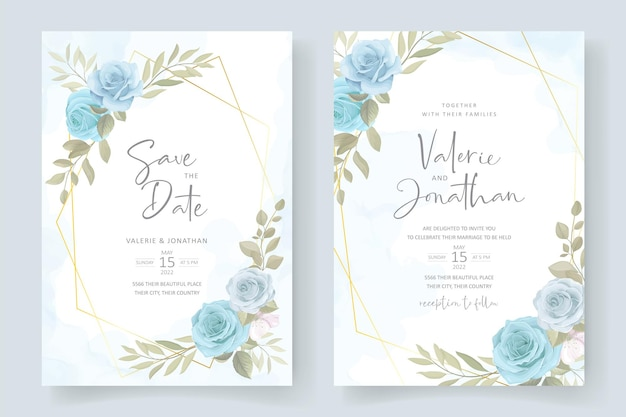 Biglietto d'invito con morbido ornamento floreale blu