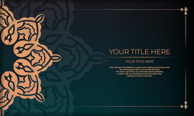 Design della carta di invito con motivi vintage. banner verde scuro con ornamenti di lusso e posto per il testo.
