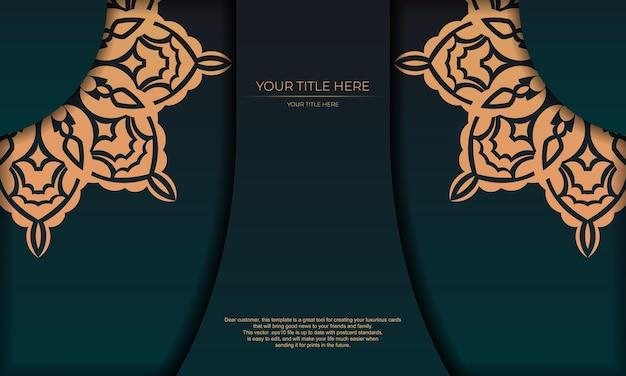 Design della carta di invito con motivi vintage. banner modello verde scuro con ornamenti di lusso e posto per il tuo design.