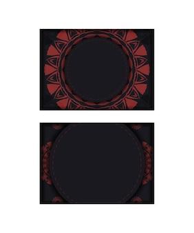 Modello di carta di invito con posto per il tuo testo e ornamento astratto. design da cartolina di lusso pronto per la stampa in nero con motivi greci rossi.