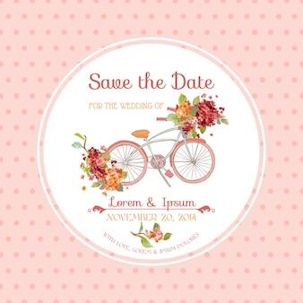 Biglietto d'invito per matrimonio, baby shower - tema floreale vintage hortensia