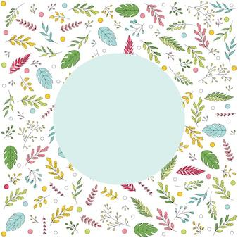 Scheda dell'invito con elementi floreali vettoriali. biglietto estivo con foglie e fiori colorati. illustrazione con raccolta di fiori su sfondo bianco. illustrazione vettoriale