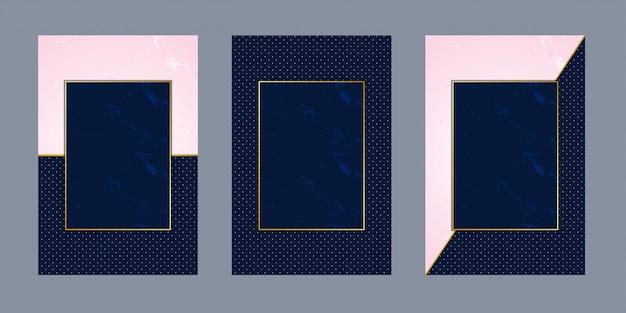 Biglietti d'invito marmo rosa punto blu lusso oro Vettore Premium