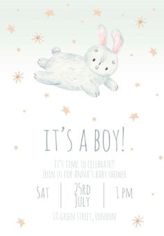 Invito alla festa per bambini è un ragazzo carino illustrazione per bambini ad acquerello con un coniglio
