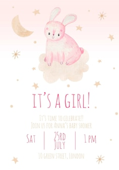 Invito alla festa per bambini è una ragazza carina illustrazione per bambini ad acquerello con un coniglio