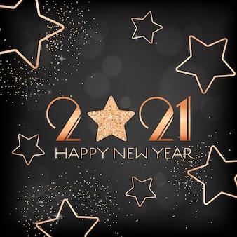 Volantino di invito o elegante cartolina di capodanno. cartolina d'auguri di felice anno nuovo 2021 con stelle dorate e glitter su sfondo nero sfocato con scintillii dorati e tipografia. illustrazione vettoriale