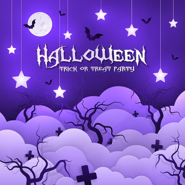 Invito alla festa di halloween, stile carta.