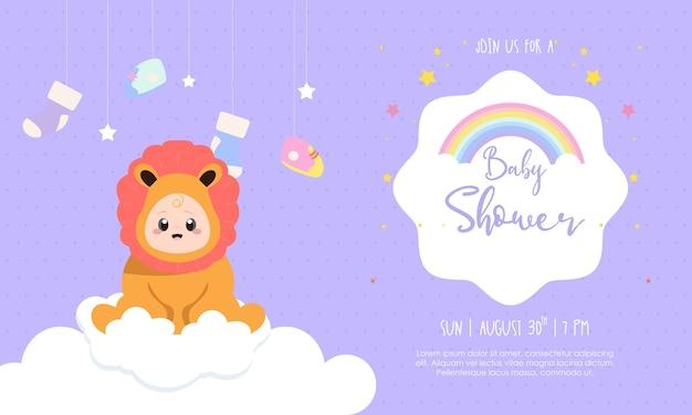 Modello dell'invito per l'illustrazione di progettazione dell'acquazzone di bambino del ragazzo