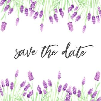 Modello di invito con fiori viola acquerello disegnato a mano