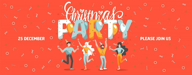 Modello di biglietto di invito alla festa di natale con persone divertenti che ballano e bevono vino.
