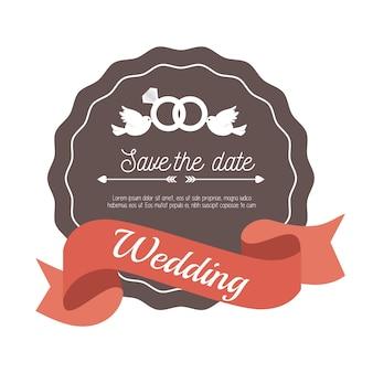 Carta di nozze di invito con anelli e disegno di uccelli