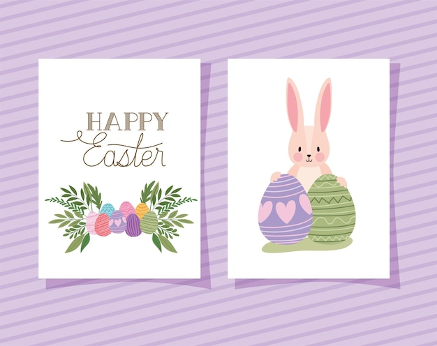 Invito con scritte di buona pasqua e due conigli rosa con uova di pasqua su un disegno di illustrazione sfondo viola
